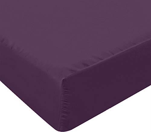 Utopia Bedding Sábana Bajera Ajustable - Bolsillo Profundo - Microfibra Cepillada - (150 x 200 cm, Púrpura)