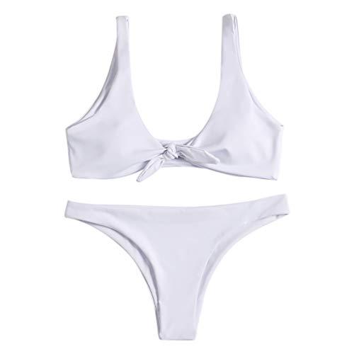 Julhold Badeanzug Bikini Damen Bedruckte Badeanzug Mit Geteilter Schlinge Zweiteilige Bademode Swimsuit Unverzichtbar Für Sommerliche Strandreisen(Weiß,S)