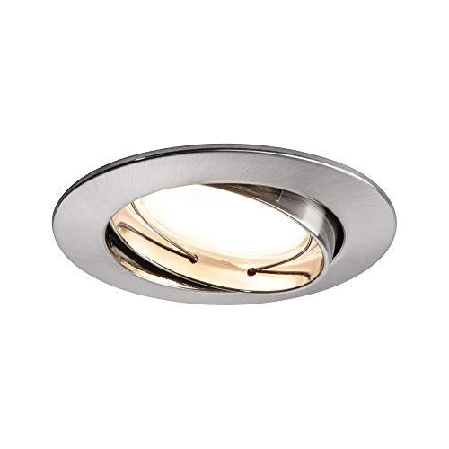 Paulmann 93980 Luminaria empotrable LED, Coin, foco empotrable plano, juego completo, satinado, bastidor empotrable redondo, foco de techo 3x6,8W, lámpara empotrable, acero, orientable