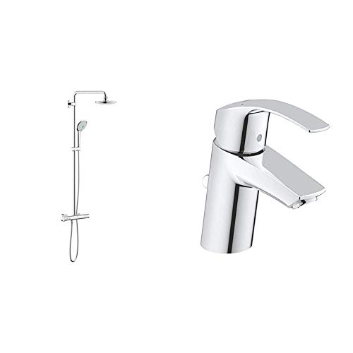 Grohe 27296001 Euphoria 180 - Sistema de ducha con termostato, alcachofa de 180mm y teleducha tres chorros de 110mm + Eurosmart - Grifo de lavabo con vaciador automático, caño estándar