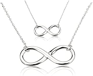 The Bling Stores Double Infinity Charm Necklace Sterling Silver Layered Chain Necklace Lucky 8 Necklace for Women