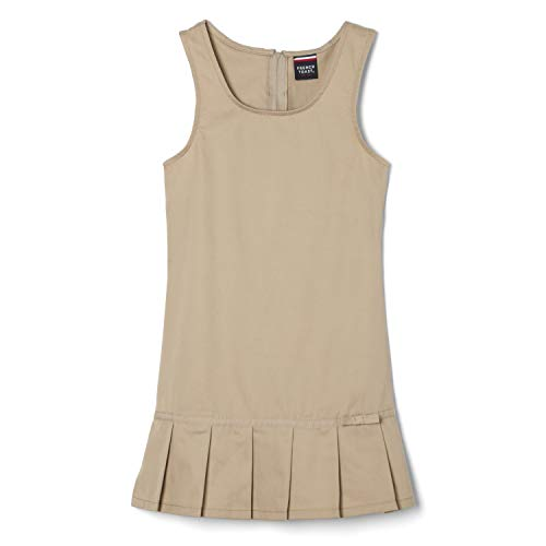French Toast Little Girls' Pleated Hem Jumper, Khaki, 6