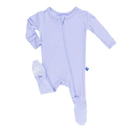 KicKee Pants Little Girls Basic Footie with Zipper - Lilac, 3 - 6 Months