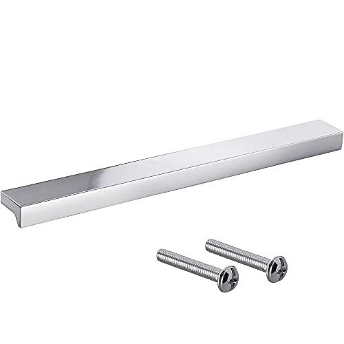 Gedotec Tirador de aluminio macizo | Tirador de cajón en cromo | ANGLE | Tirador para muebles de diseño para cajones con la longitud: 400 mm | Tirador de puerta de armario | 1 pieza