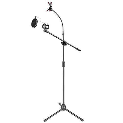 Neewer 30-50 inches Metal Microphone Floor Stand with Boom Arm,360 Degree Rotating Phone Holder(for iPhone,Samsung and More),Mic Clip and Pop Filter Windscreen for Recording, Broadcast,Karaoke,Podcast