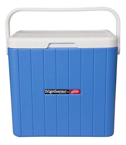 frigothermo Kühlbox 27 Liter groß eckig blau weiß passiv Kunststoff mit Tragegriff Ablassventil abnehmbarem Deckel bis 12 Stunden Kühlung Thermo-Behälter Cooler Getränkekühler Autokühlbox Kühltruhe