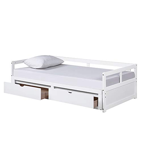 Firlar White Wood Daybed with Trundle Bed with 2 Storage Drawers,Extendable King Size Daybed Sofa Bed for Bedroom Living Room