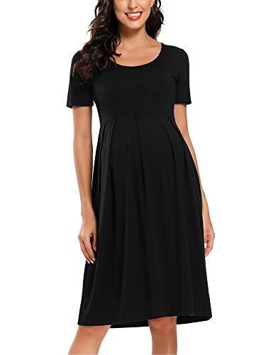 Love2Mi Damen Kurzarm Umstandskleid Schwangerschafts Kleid Streifen Knielang A-Line Umstandsmode, Schwarz, L
