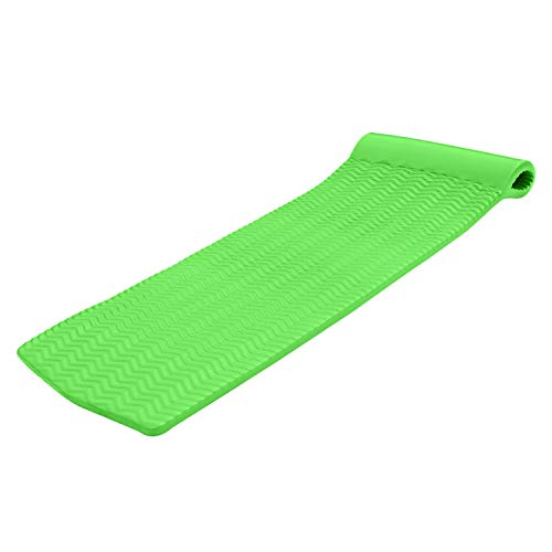 TRC Recreation Serenity 70 Inch Foam Raft Lounger Swimming Pool Float Mat with Roll Pillow for Poolside, Lake, and Beach, Fierce Green