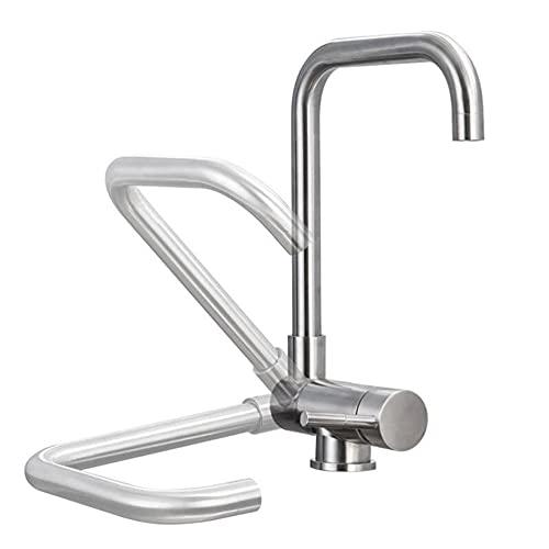 Grifo Cocina Abatible Ventana Agua Fria y Caliente Giratorio Grifo de Cocina Plegable para Ventana Acero Inoxidable Cepillado