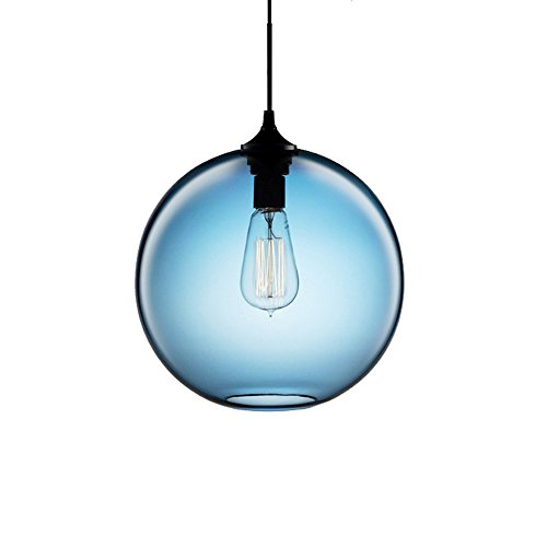 Wings of wind - Industrial Vintage sferica lampadario E27 lampada a sospensione soffitto colorato Glass Cage (Blu)