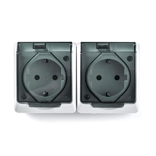 Famatel 5125 Doble Base | Enchufe de empotrar | Serie Pool 54 | IP54 Prueba de Agua | Alta estanqueidad Producto Libre de halógenos | Protección Infantil | Aluminio, Blanco, 15x8,5x5cm