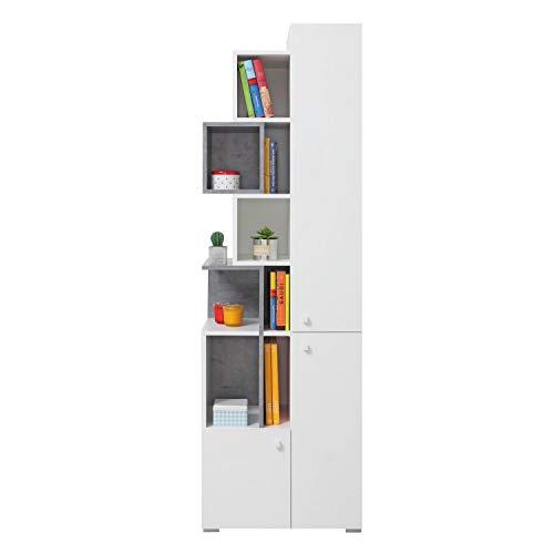 Furniture24 Regal Sigma SI - 4 Standregal, Bücherregal mit 3 Türen, Schrank, Hochschrank (Weiß Lux/Beton)