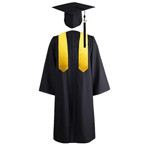 PRETYZOOM Vestido de Graduación Gorra Borla Estola Set 2020 para Iniciación Académica de Bachillerato Traje de Estudiante de Secundaria Mujeres Hombres Negro Amarillo 155-162 Cm