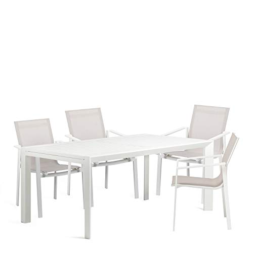 SKLUM Pack Mesa Extensible de Exterior (180 cm - 240 cm) Starmi & 4 Sillas de Exterior Eika Acero Blanco - (Elige Color)