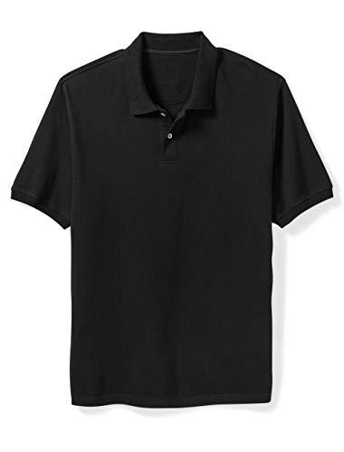 Amazon Essentials Men's Big & Tall Cotton Pique Polo Shirt fit by DXL, Black, 2X