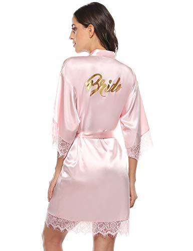 Aibrou Damen Morgenmantel Bademantel Kurz Satin Robe Kimono mit Spitze Nachthemd Nachtwäsche Sleepwear mit Gürtel für Braut Brautjungfern Pink-Braut M