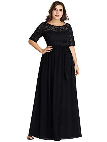 Ever-Pretty Vestito da Sera Donna Linea ad A Girocollo Pizzo Chiffon Stile Impero Taglie Forti Nero 56