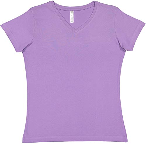 LAT Women's Cotton V Neck T-Shirt (3587) Lavender, L