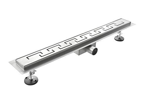 Laneri Canalina di Scarico per Piatto Doccia a Pavimento, Acciaio Inox, Spirale, 90 x 7 cm