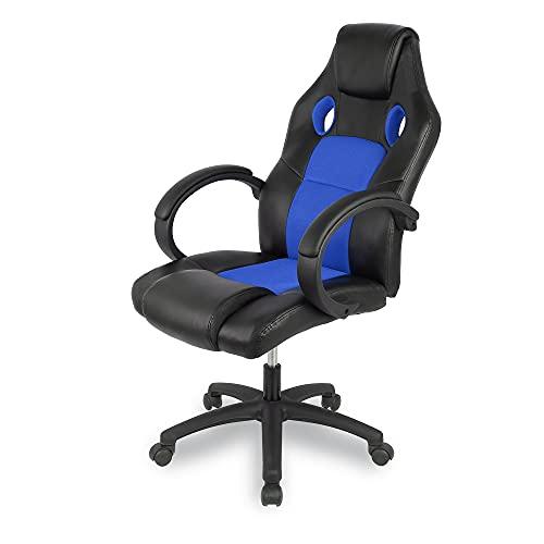 Sedia da gioco, sedia da ufficio ergonomica Sedia da computer con schienale alto Sedia da scrivania in pelle Sedia da lavoro girevole regolabile ergonomica da corsa