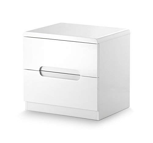 Julian Bowen Manhattan Brillant Commode Table de Chevet 2 tiroirs, Bois, Blanc