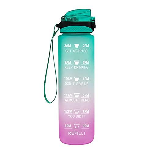 QAZW Botella de Agua Motivacional de 1L / 32OZ con Pajita - Jarra de Agua Deportiva Tritan Sin BPA a Prueba de Fugas con Marcador de Tiempo,Purple/green-1L