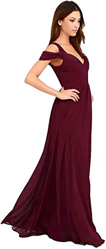 HellodayZ Women's Off Shoulder Bridesmaid Dresses for Juniors Chiffon Wedding Guest Evening Gown Burgundy 18 Plus
