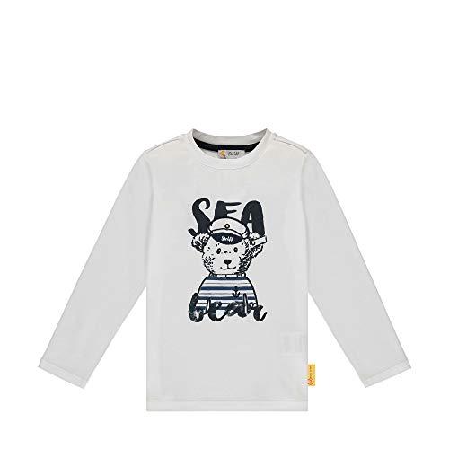Steiff Jungen T-Shirt Langarm Langarmshirt, Weiß, 116 (Herstellergröße:116)