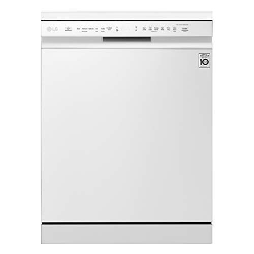 LG DF215FW - Lavavajillas con tecnología QuadWash (Inverter Direct Drive, Bandeja para cubiertos, sistema de lavado dual, carga fácil Easy Rack Plus, Smart ThinQ, display LED táctil) color blanco
