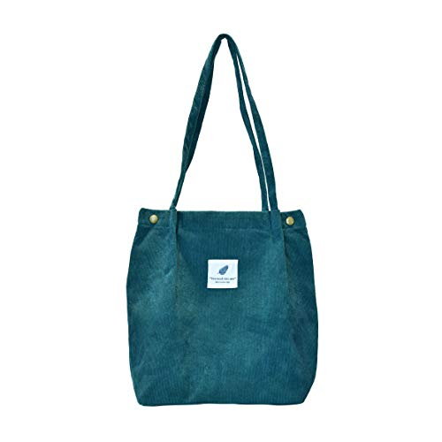 Corduroy Fabrics Tote Bag with Interior Pocket, Reusable Washable and Ecofriendly, Perfect for Shopping Travelling School and So on. (Blue)…