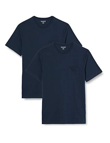 Amazon Essentials Pack de 2 Camisetas Ajustadas con Bolsillo Y Cuello Redondo Fashion-t-Shirts Hombre (Pack de 2)