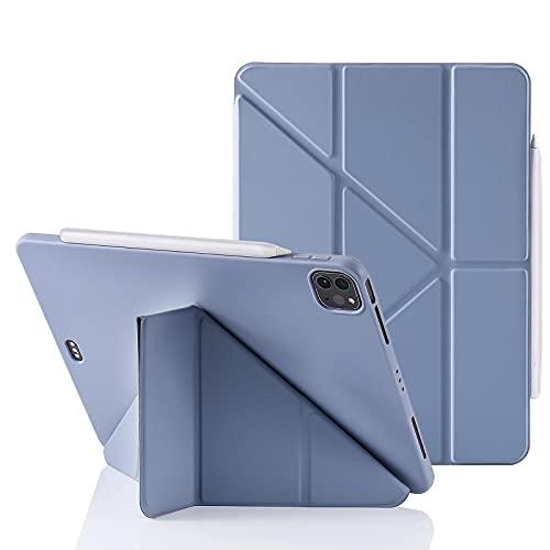 MuyDoux Custodia per iPad Pro 11 Pollici 2021/2020/2018 (3a/2a/1a Generazione), 5 in 1 Angoli di Visuale Multipli, Cover in Silicone con Auto Svegliati/Sonno, Supporto per Pencil 2 (Blu-Grigio)