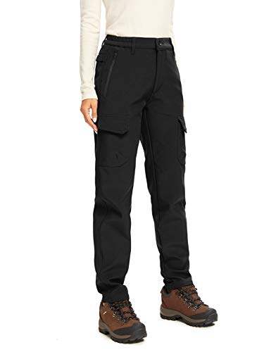 Women's Hiking Snow Sports Insulated Fleece Lined Leggings Stretch Cargo Pants 2163,Black,38