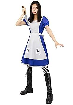 C-ZOFEK Alice-Madness Returns Alice Cosplay Maid Dress for Women  XX-Large