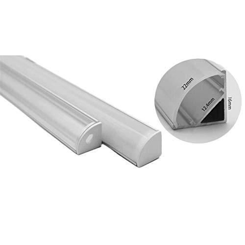 ZSHENG® 1-10pcs 50 cm Barra LED de la Barra de la luz V Forma Triángulo Perfil de Aluminio Cubierta Clara Conector Canal Clip DE CANTÓN DE 10MM PCB Tira (Color : 2 Set Clear Cover)