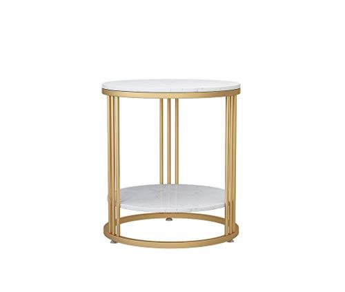 YAQ-Muebles de oficina Sala de estar Mesa, doble capa de metal pequeña mesa redonda imitación de mármol mesa de centro for Habitación Hotel Oficina Mesa for sofá Mesas de pedestal