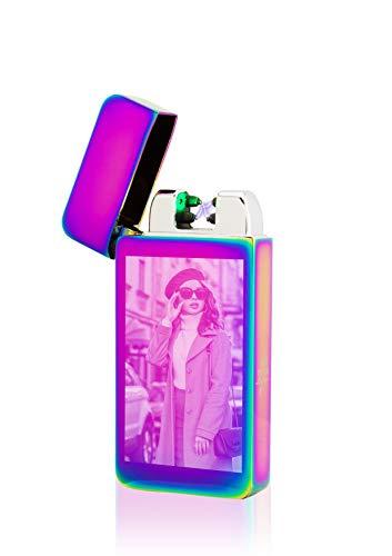 TESLA Lighter T10 Lichtbogen Feuerzeug Elektronisch, mit Foto-Gravur, personalisiert als Geschenk zu Weihnachten, Geburtstag etc. wiederaufladbar per USB inkl. Geschenkverpackung Regenbogen