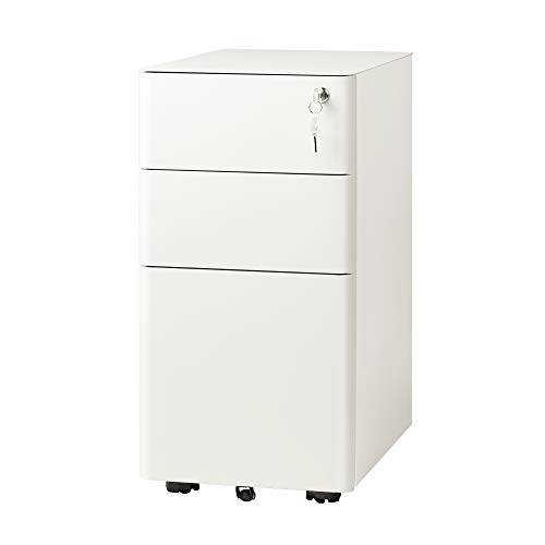 DEVAISE 3-Drawer Slim Vertical File Cabinet, Fully Assembled Except Casters, Legal/Letter Size, White