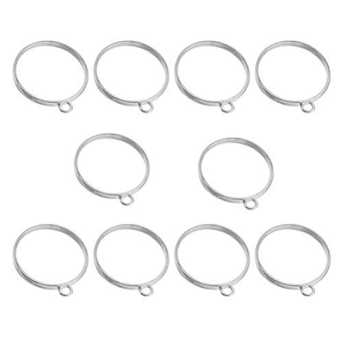 Heallily - Colgante redondo abierto para gafas, marco hueco, colgante para bricolaje, bisutería de resina, artesanal, 20 unidades (plata)