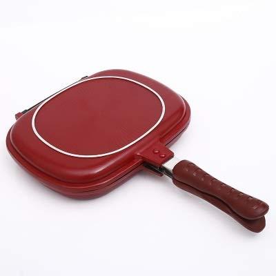 IUYJVR Sartén 1PC Parrilla de Doble Cara Sartén de Forma Cuadrada Sartén Antiadherente Sartén para Hornear Filete 28cm Herramienta de Cocina para cocinar Antiadherente (Color: Rojo 28CM)