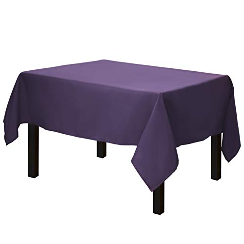 Gee Di Moda Square Tablecloth - 52 x 52 Inch - Purple Square Table Cloth for Square or Round Tables in Washable Polyester - Great for Buffet Table, Parties, Holiday Dinner, Wedding & More