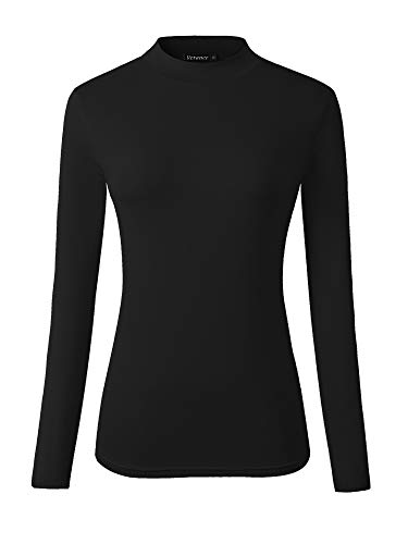 Veranee Women's Long Sleeve Slim Fit Turtleneck Basic Layering T-Shirt X-Large Black