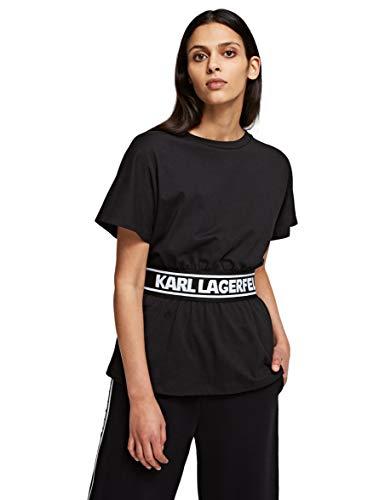 KARL LAGERFELD Damen Logo Tape Top T Shirt, Schwarz, XL EU