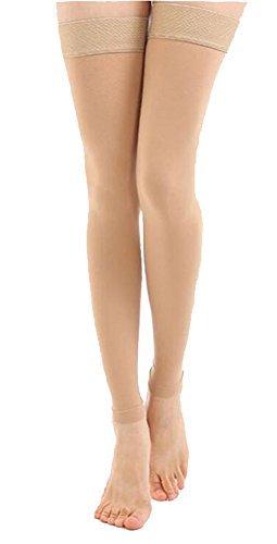 TOFLY Bas de compression à cuisse haute, opaque, soutien ferme compression de gradient de 20-30 mmHg avec bande de silicone, manchons de compression sans pieds, gonflement du traitement, Beige M