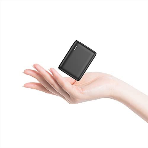 Mini Powerbank ORHFS 10000mAh Kompakter USB C Externer Akku PD 18W Power Bank Tragbares Ladegerät mit Power Delivery Schnellladefunktion Leistungsstark für iPhone Huawei Samsung Handy - Schwarz