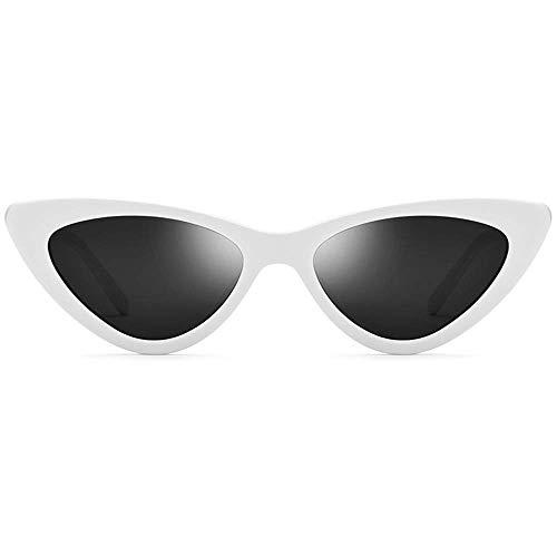 CDNS Gafas de Sol Blanco Pequeño M Gafas de Sol Polarizadas Triángulo Femenino Femenino Placa Retro Gafas de Sol Gafas de Sol Lente Gris Uv400 Protección Espejo polarizado