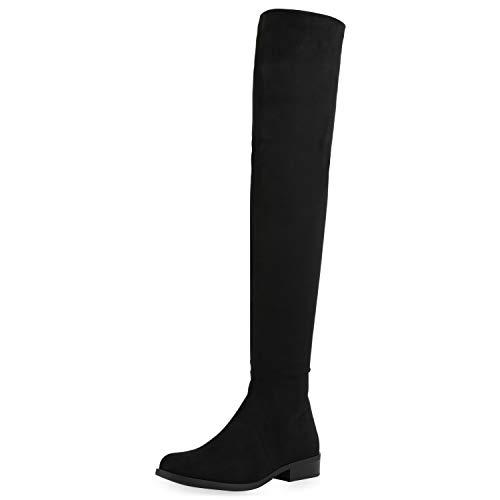 SCARPE VITA Damen Stiefel Leicht Gefüttert Overknees Blockabsatz Schuhe Klassische Boots Wildleder-Optik 185568 Schwarz Schwarz 36