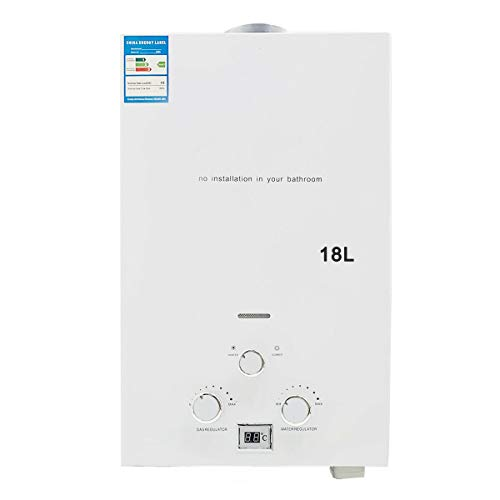 TABODD 18L 36KW LPG Propane Gas Water Heater, 4.8 GPM Portable Tankless Instant Hot Water Heater Boiler Burner with Shower Head Kit for Small Homes RV's Sailboats Cabins Camping, White