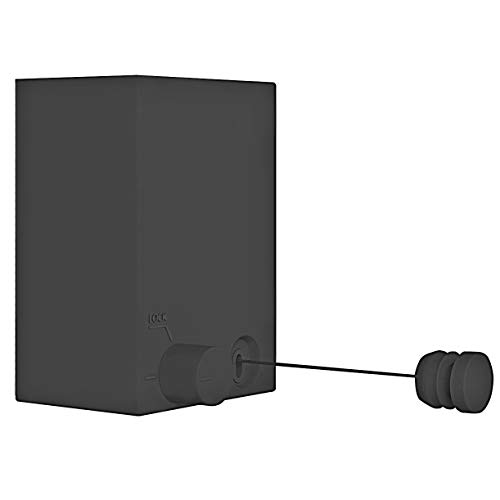 Sharemee Retractable Clothesline - Heavy Duty Clothing Line for Drying Clothes - Wall Mounted Stainless Steel Self Adhesive& Wall Mounted Laundry Line138 Feet MAX Black